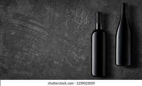 Template concept two wine bottle for your design and advertising company promotion your of product on dark grey concrete background. Wine bottle mockup with copy space. Top view.