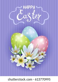 Template Easter cards with realistic eggs and flowers Zephyranthes. Purple background. Lettering, calligraphy.