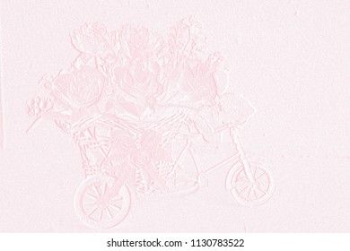 Template of embossed flower on colorful background