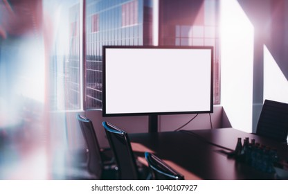 Template of empty white presentation screen at the head of the table in modern office meeting room, blue skyscraper outside the window; with strong aberrations and reflections, tilt-shift shooting