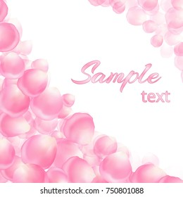 Template for a festive congratulation with delicate rose petals on a white background.