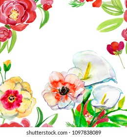 Template for greeting card with flowers, Watercolor painting, Hand painted drawing. Aquarelle wild flower for background, texture, wrapper pattern, frame or border.