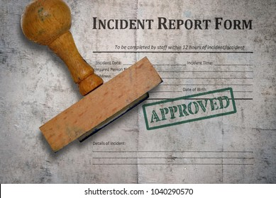 Template of an incident report form and wooden stamp on vintage background