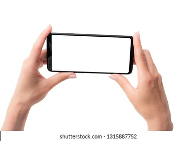 Template of modern black smartphone holded in hands for your design isolated on a white background