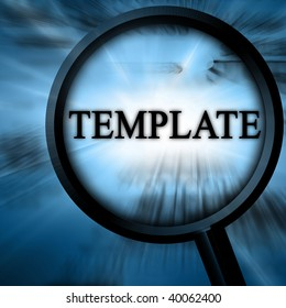 template on a blue background with a magnifier