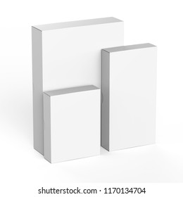Template for packaging design, cardboard boxes isolated on white background, realistic rendered mockup.