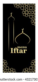 Template for restaurant oriental menu for iftar with mosque.