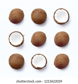Template with ripe coconuts on white background. From top view
