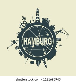 Template with sea shipping and travel relative silhouettes. Hamburg city name text