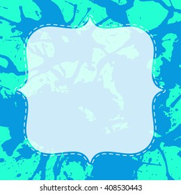 Template with semi-transparent white vintage frame over bright blue and mint green artistic paint splashes.