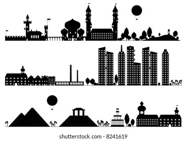 Template silhouette landscape and building