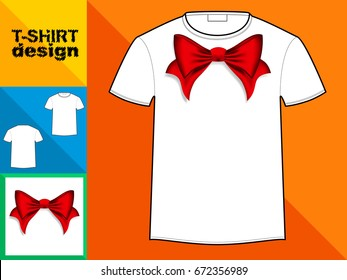 Template T-shirt with an trendy design: red bow.