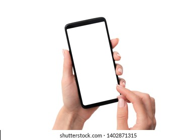Template of using black smartphone on white table background for your design isolated on a white background