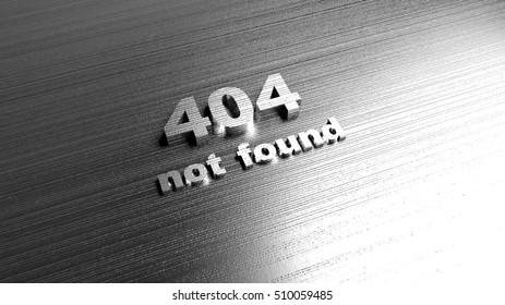 Template for website - Error 404 Page not found message. Metal words on steel background. Lettering for web design and site development. 3D Rendering.