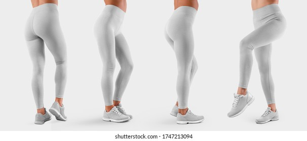 Template of white stretch leggings on a sports girl in sneakers, side view, back view, white tight pants, isolated on background. Mockup of women's clothing on slim legs, for design presentation. Set