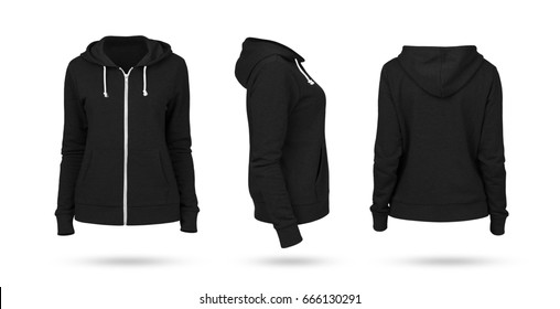 Template of a women's sweatshirt of black color (front, side and back views). White background