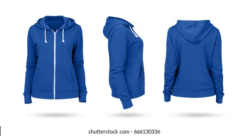 Template of a women's sweatshirt of blue color (front, side and back views). White background