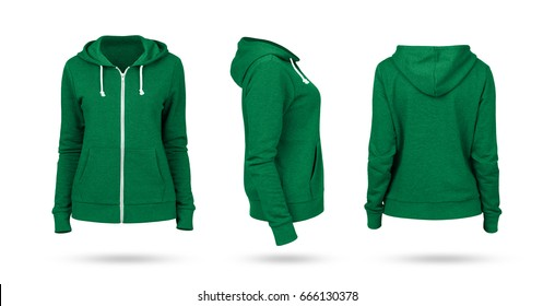 Template of a women's sweatshirt of green color (front, side and back views). White background