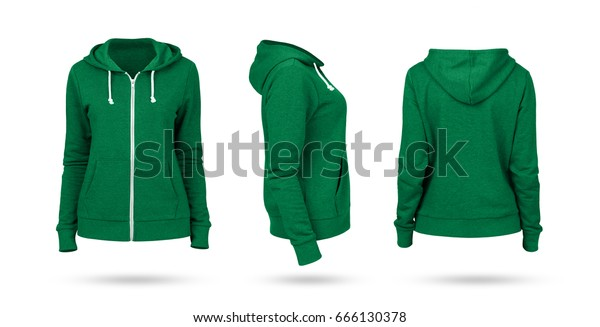 d9022fcd Template of a women's sweatshirt of green color (front, side and back views)