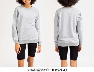 Template of a women's sweatshirt of grey colors, White background