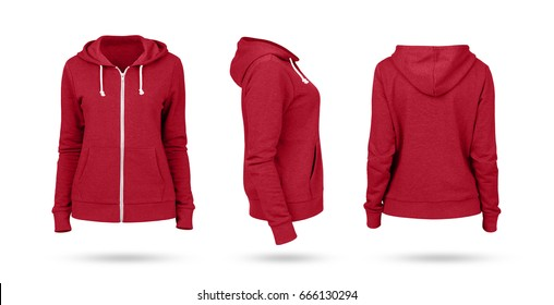 Template of a women's sweatshirt of red color (front, side and back views). White background