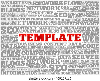TEMPLATE word cloud, business concept