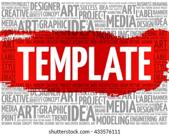 TEMPLATE word cloud, creative business concept background