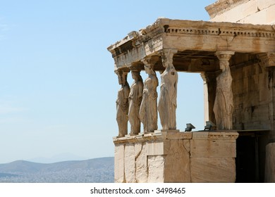 Temple at the Acropolis with view over Athens city