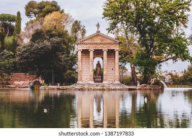 Temple of Aesculapios or Tempio Esculapio at Villa Borghese Gardens in Rome, Italy.