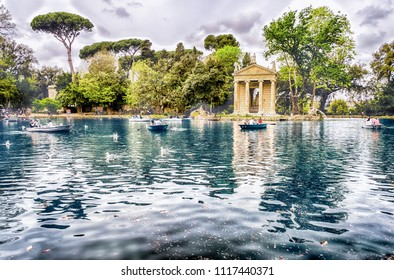 Temple of Aesculapius inside the Lake Garden, one of the most scenic spots in Villa Borghese, Rome, Italy