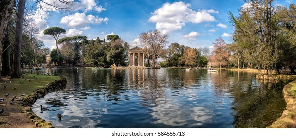 Temple of Aesculapius in Villa Borghese Gardens, Rome Italy