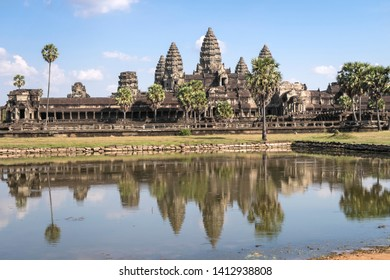 The temple Angkor Wat. Lake with reflection in the water
