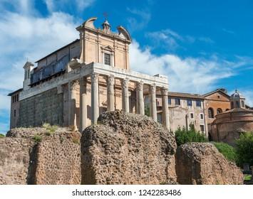 Temple of Antoninus and Faustina is an ancient roman temple in Roman Forum, later a Roman Catholic church the Chiesa di San Lorenzo in Miranda, Rome, Italy