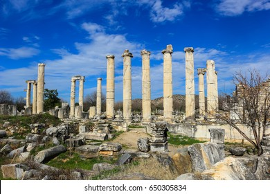 The Temple of Aphrodite  in Aphrodisias Turkey with view of mountains in the background