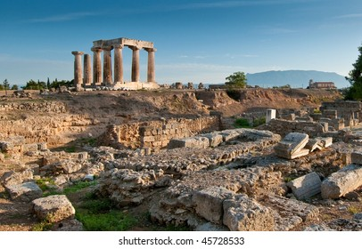 Temple of Apollo amidst the ruins of Ancient Corinth, Greece