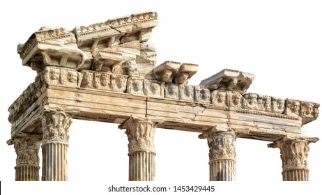 The Temple of Apollo, located at the end of Side's peninsula (Turkey), isolated on white background
