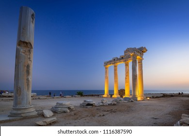 The Temple of Apollo in Side at dusk, Turkey