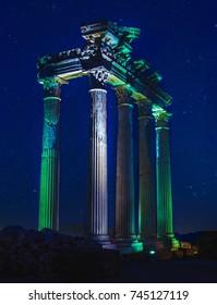 Temple of Apollo, Side in night
