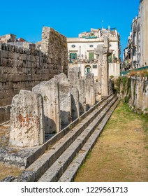 Temple of Apollo in Siracusa old town (Ortigia). Sicily, southern Italy.