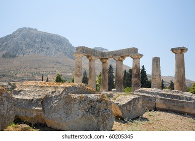 Temple of Apollos, Corinth, with Acrocorinth in the background