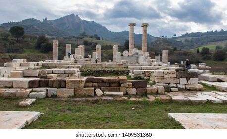 The Temple of Artemis. Temple of Artemis in the ancient city of Sardes. Turis is visiting the temple. Sardina, Manisa, Turkey. January 27, 2019