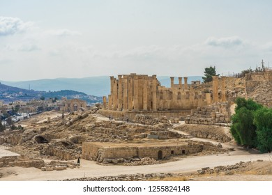 Temple of Artemis in the ancient Roman city of Gerasa, preset-day Jerash, Jordan. It is located about 48 km north of the capital Amman.