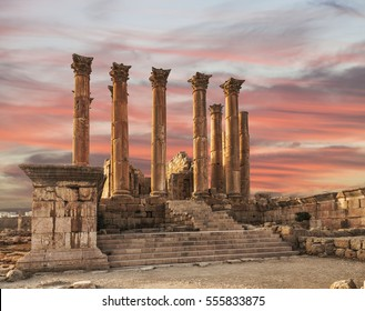Temple of Artemis in the ancient Roman city of Gerasa at the sunset, preset-day Jerash, Jordan