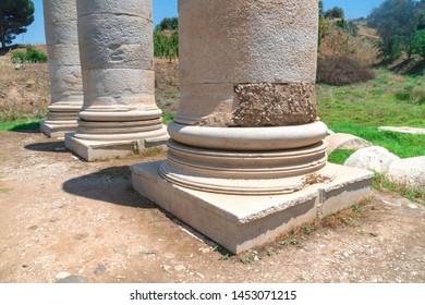 Temple of Artemis ruins and columns in Sardes (Sardis) Ancient City in Manisa, Turkey.