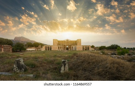 Temple of Artemis at Sardes Lydia Ancient City at sunset. Salihli district, Manisa city, Turkey