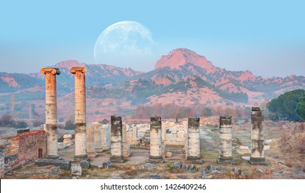 """The Temple of Artemis, Sardes (Sardis) Ancient City with full moon - Manisa, Turkey """"Elements of this image furnished by NASA"""""""