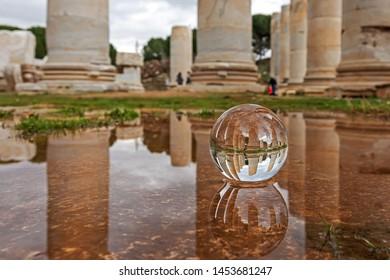 Temple of Artemis view with columns sphere, Sardis, Manisa,