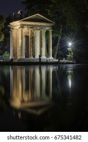 Temple of Asclepius by night in the Villa Borghese