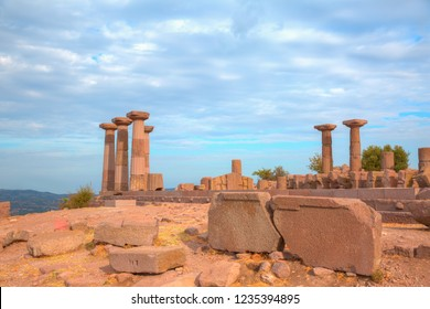 Temple of Athena at the highest point of the Assos Ancient City - History of the ancient city of Assos BC Going back to the 6th century.