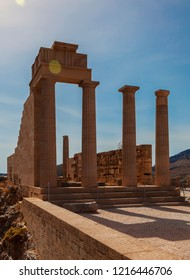 Temple of Athena in Lindos. Rhodes, Greece.